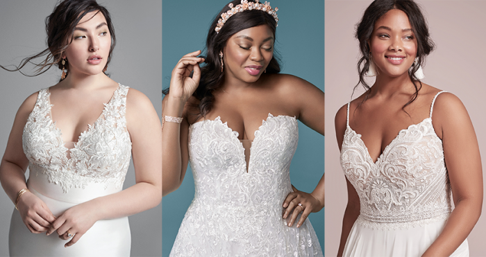 Collage of Curvy Models Wearing Flattering Wedding Dresses for a Plus Size Bride