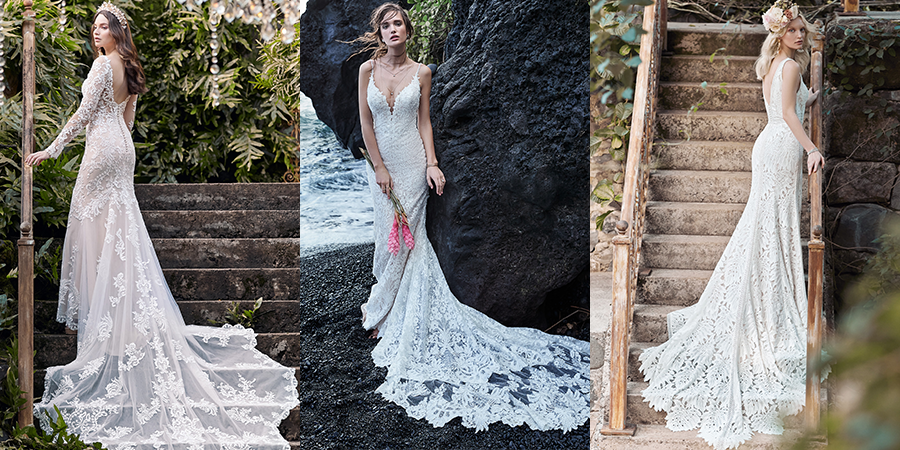 Collage of Models Wearing Long Train Wedding Dresses by Maggie Sottero