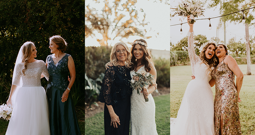 Collage of Mothers of the Bride with Their Daughters at Real Weddings