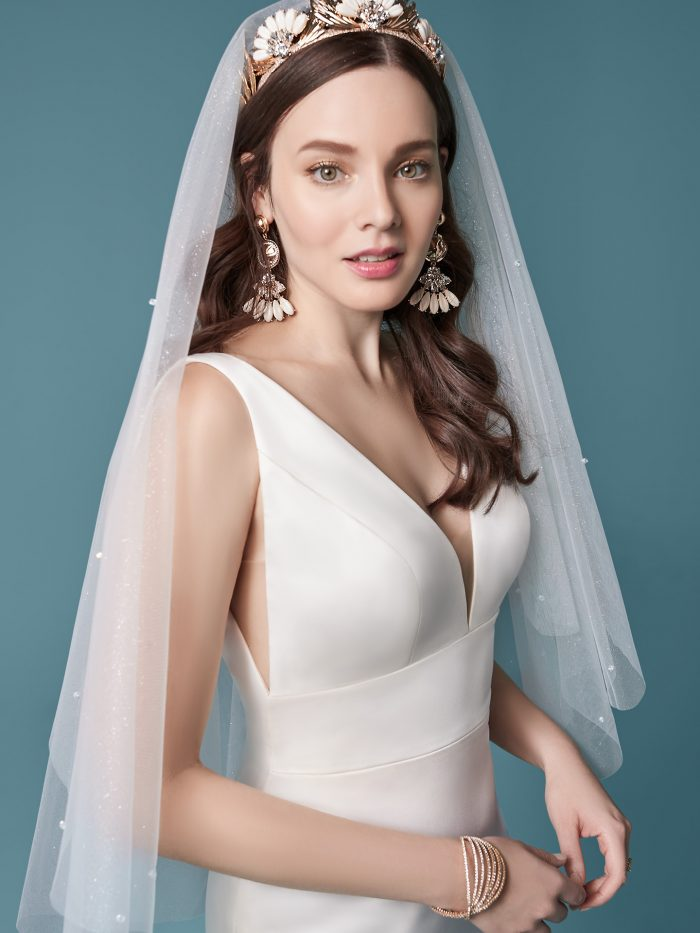 Model Wearing Minimalist Bridal Gown with Sparkly Wedding Veil Called Anissa by Maggie Sottero