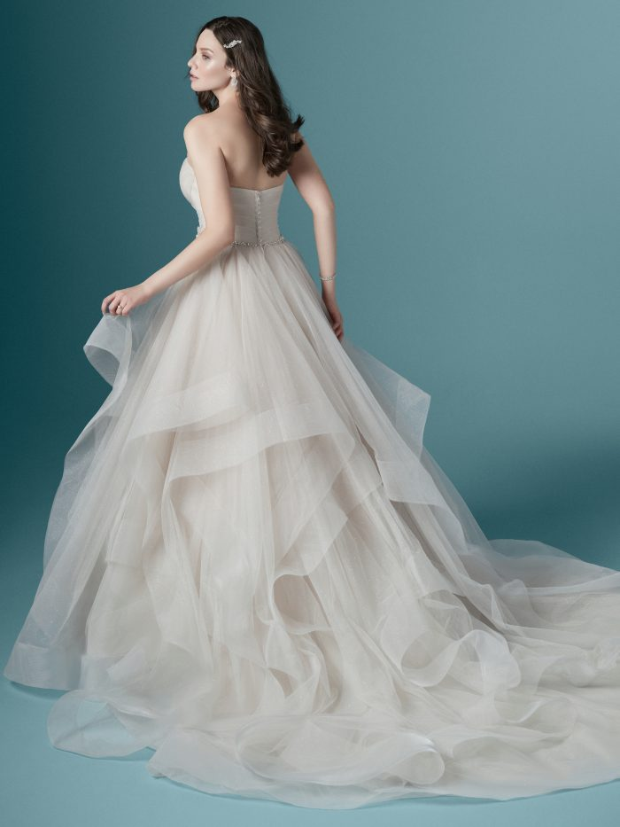 Model Wearing Tulle Layered Ball Gown Wedding Dress Called Yasmin by Maggie Sottero