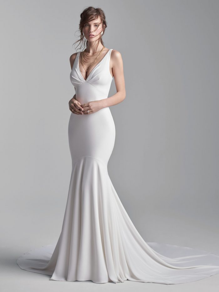 Model Wearing Dramatic Halter Back Wedding Dress Called Anthony by Sottero and Midgley