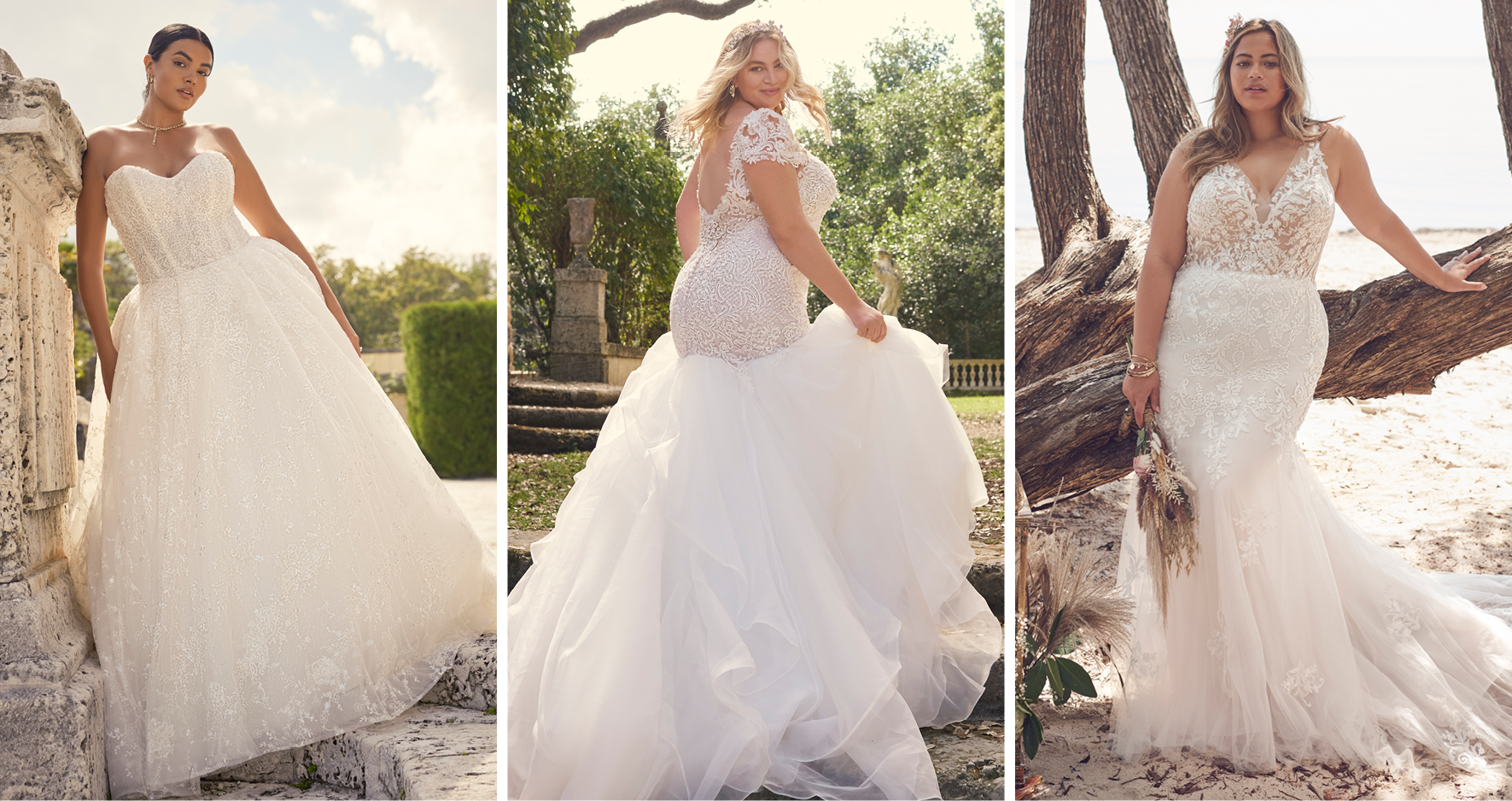 Collage of Brides Wearing Flattering Plus-Size Wedding Dresses by Maggie Sottero
