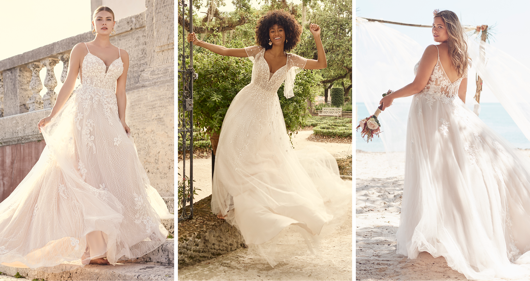 Collage of Brides Wearing Lightweight A-line Wedding Dresses by Maggie Sottero for Pear-Shaped Body Types