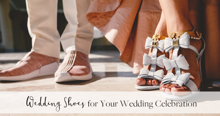 Groom with Bride Wearing Wedding Shoes for a Wedding Celebration
