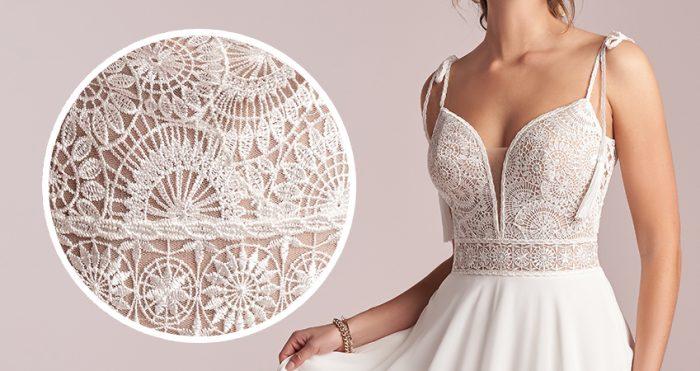 Jolie Sheath Wedding Dress by Rebecca Ingram Close Up shot of the lace
