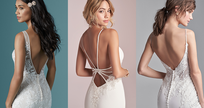 Collage of Models Wearing Open Back Wedding Dresses for Petite Brides