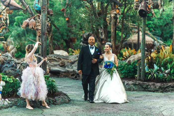 Father of the Bride Walking Bride Down the Aisle at Fairytale Wedding at Disney World