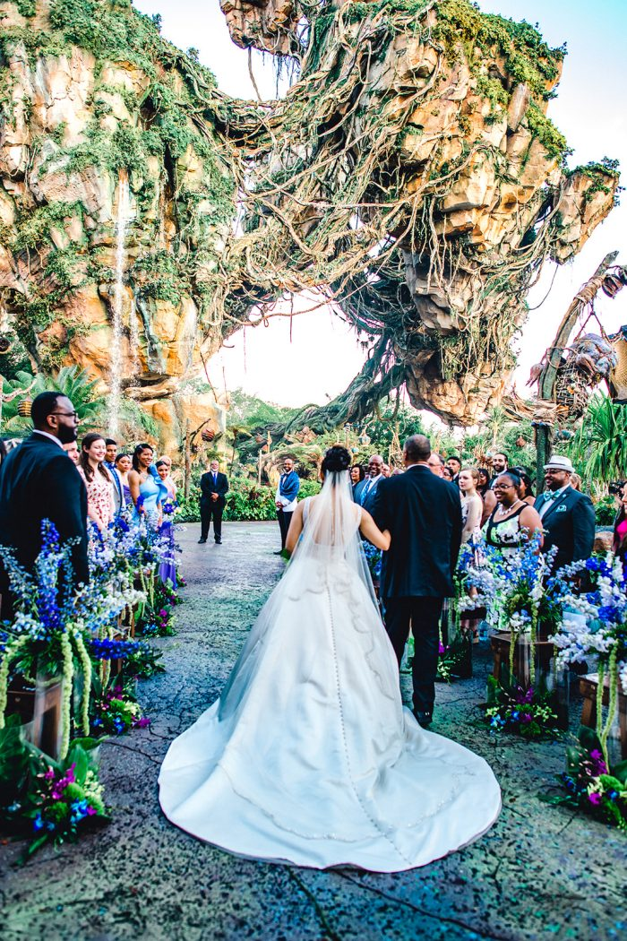 Feather Walking Real Bride Down the Aisle at Fairytale Wedding in Disney's Pandora the World of Avatar