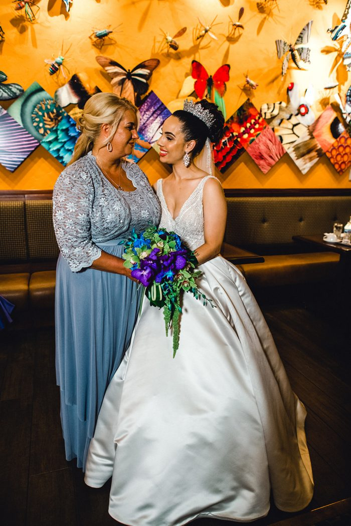 Real Bride with Mother of the Bride in Purple Dress at Disney World Wedding