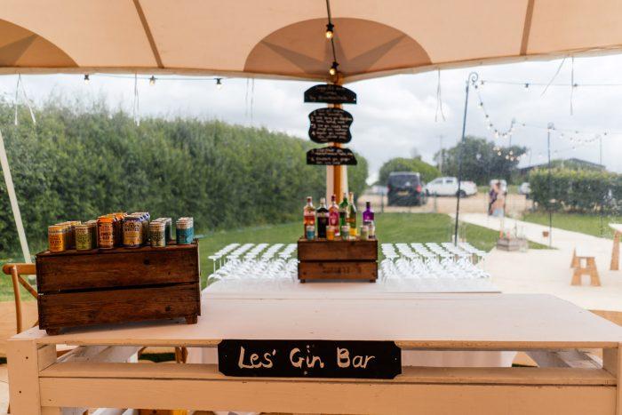 Alcohol Bar for Backyard Wedding Under Tent