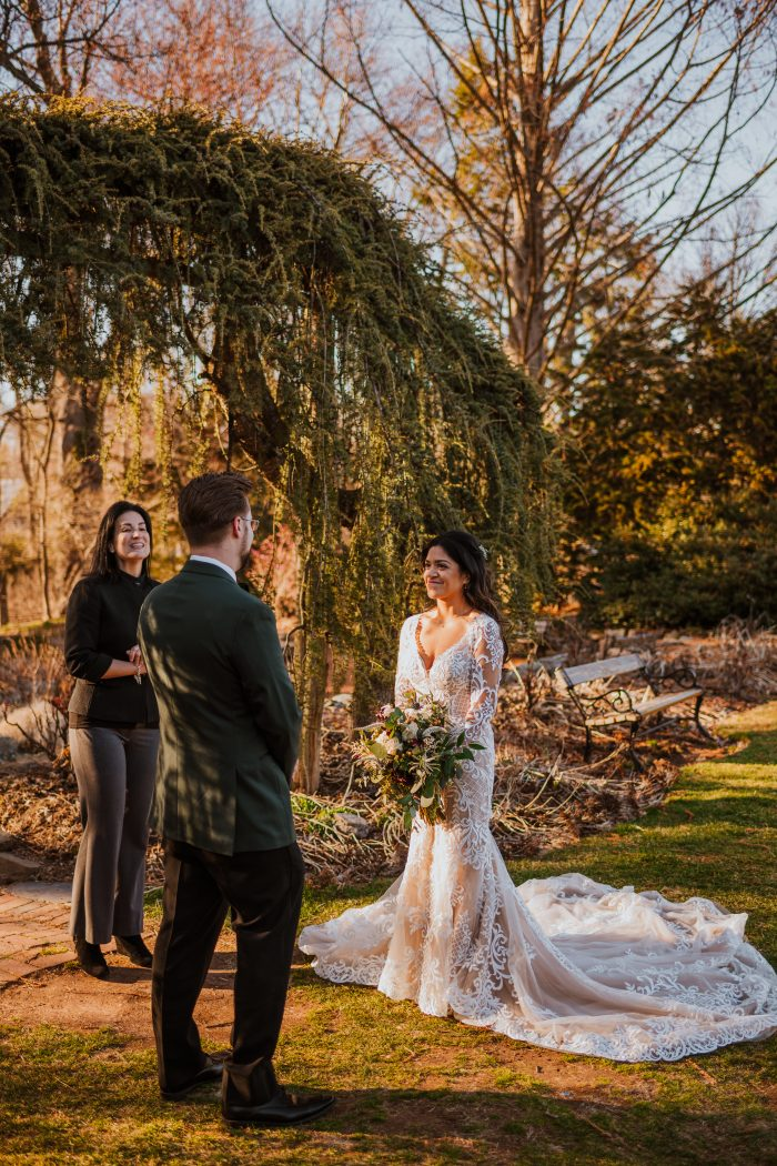 Groom with Real Bride at Festival Wedding Ceremony in the Woods