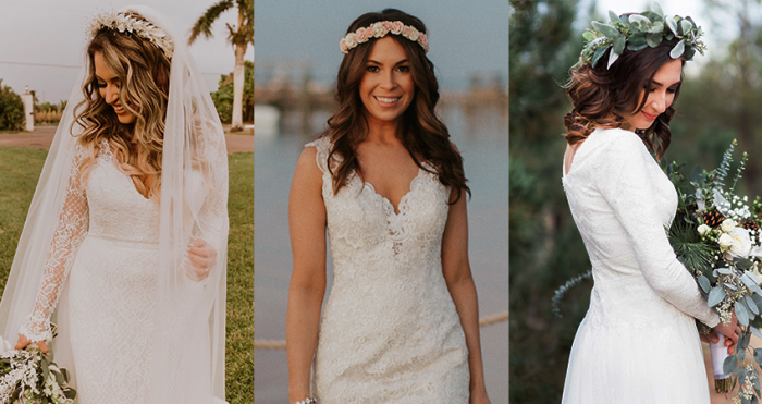 Collage of Boho Brides Wearing Whimsical Flower Crowns