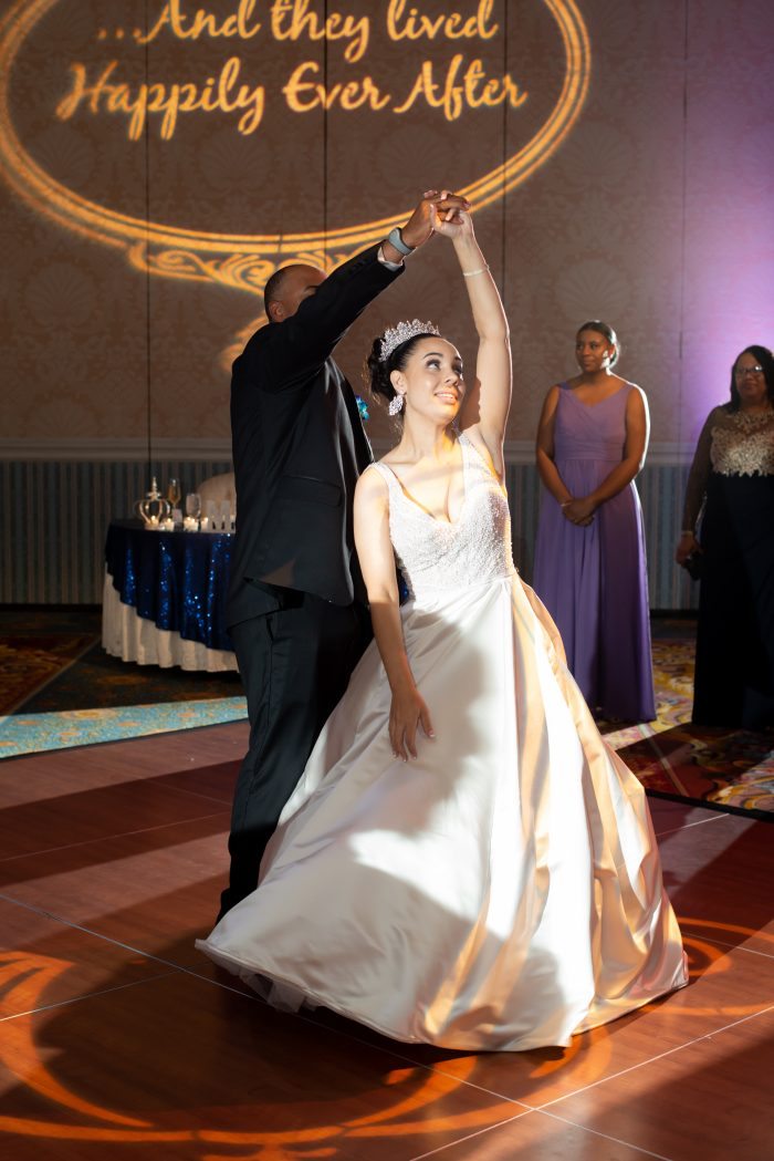 Father of the Bride Dancing with Real Bride Wearing Satin Ball Gown Wedding Dress Mylene by Maggie Sottero