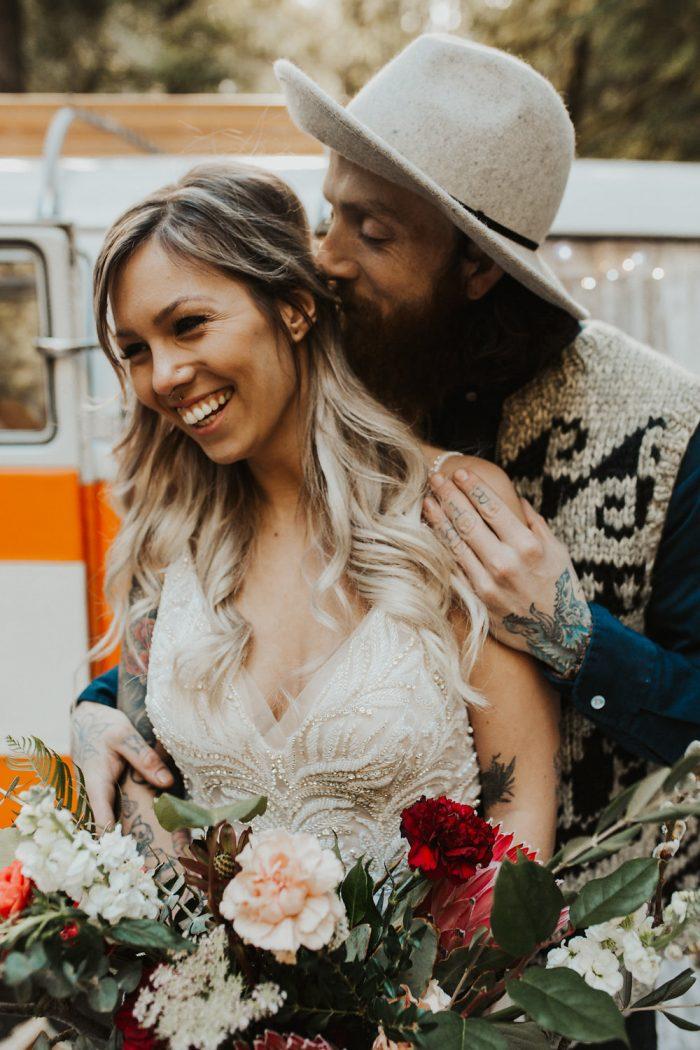 Groom with Real Bride Wearing Hippie Wedding Dress in Front of 60s Van