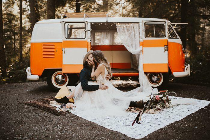 Groom with Real Bride Wearing Vintage Bridal Dress and Posing in Front of 60s Van