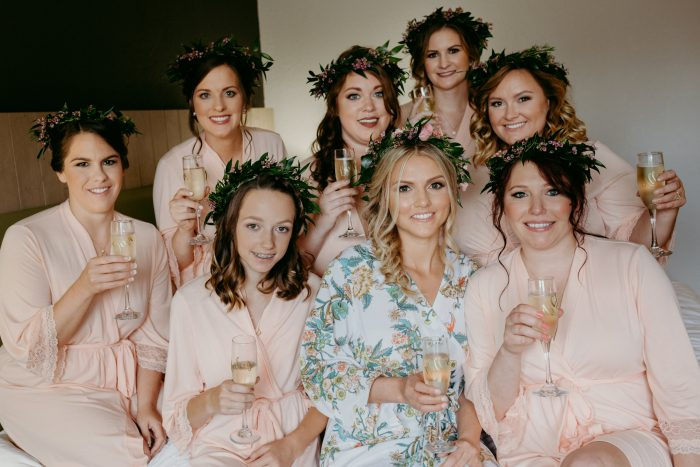 Bridesmaids Sitting with Bride During Bridal Shower