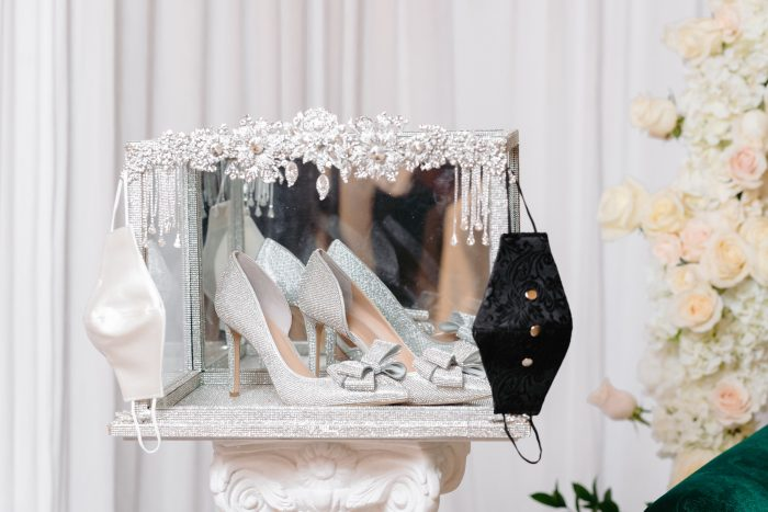 Sparkly Wedding Shoes with Black and White Masks for Socially Distanced Wedding