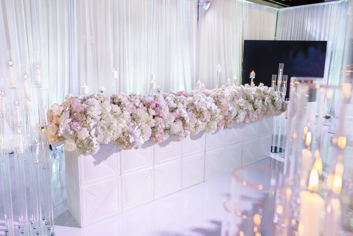 White Florals with TV at Socially Distanced Wedding