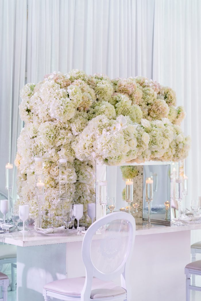 White Florals on Table at Luxurious Socially Distanced Wedding