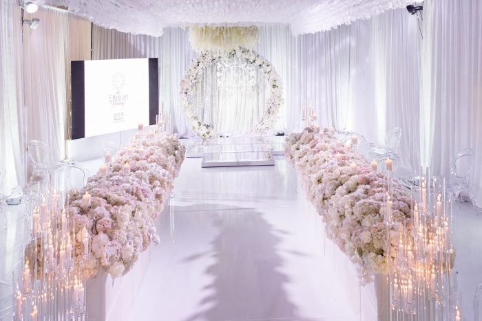 White Florals and Wedding Arch at Socially Distanced Wedding Ceremony