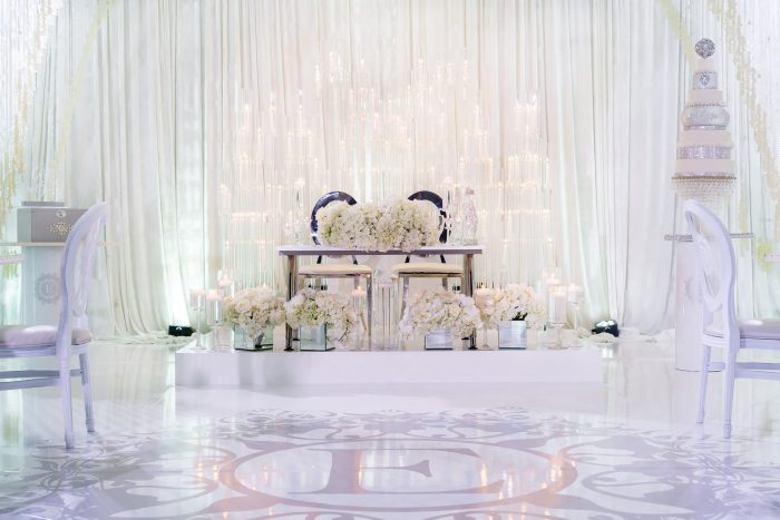 White Chairs with Bride and Groom Table and White Wedding Cake at Wedding Reception