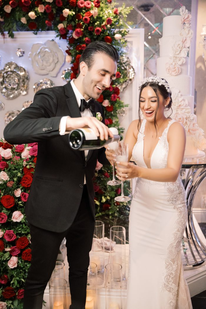 Groom Pouring Drink for Bride at Armenian Wedding Reception