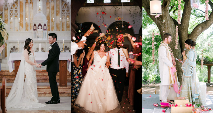 Collage of Bicultural Couples at Their Multicultural Weddings