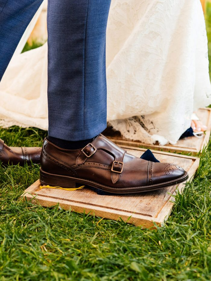Bride and Groom Smashing the Glass at Jewish Wedding