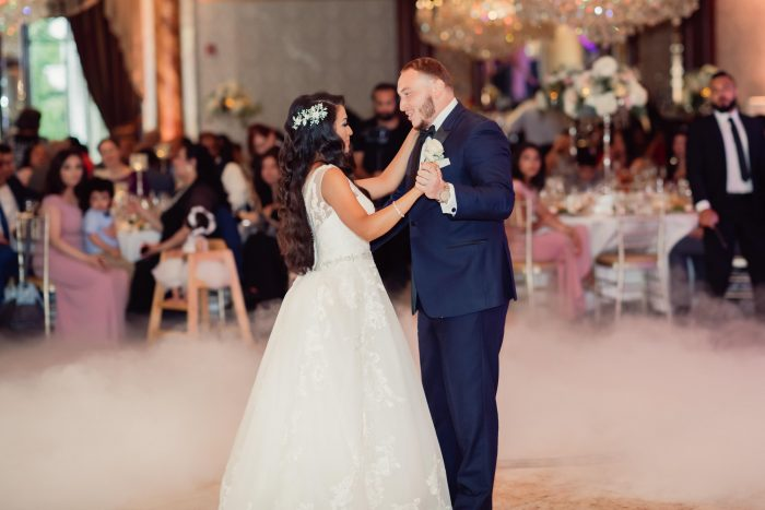 Egyptian Bride and Groom Dancing at Coptic Wedding Reception