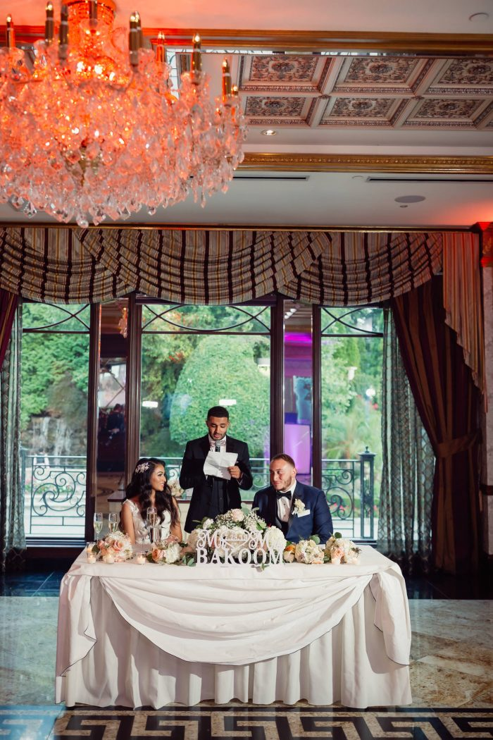 Best Man Talking to Bride and Groom at Egyptian Wedding in New Jersey