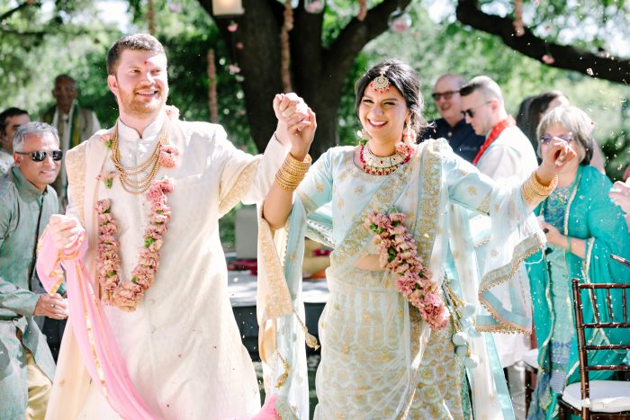 Groom with Indian Bride at Traditional Hindu Wedding Ceremony