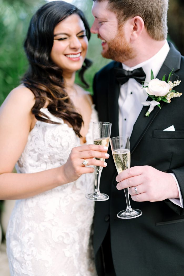 Groom with Real Bride Wearing Lace Sheath Wedding Dress Called Tuscany Lynette by Maggie Sottero
