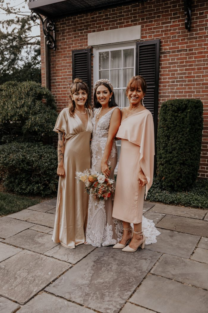 Real Bride with Her Sister and Mother at Boho-Chic Backyard Elopement