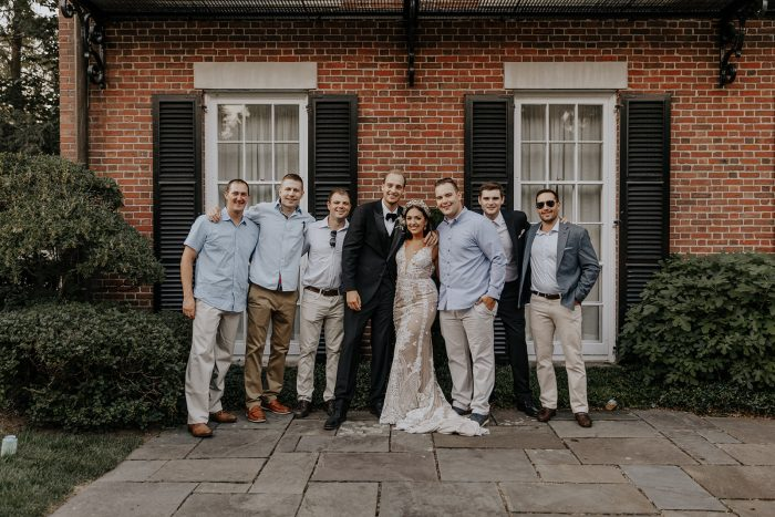 Bride and Groom with Groommen at Backyard Elopement During Coronavirus