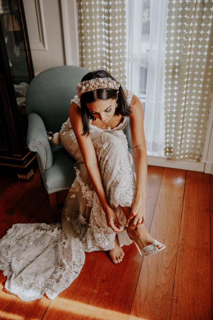 Real Bride Getting Ready for Her Wedding and Putting on Open Toe Wedding Shoes