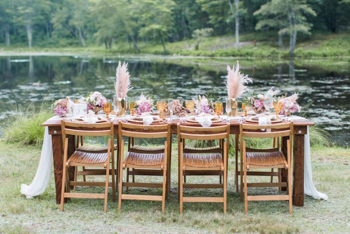Rustic Table Settings at Lakeside Micro Wedding