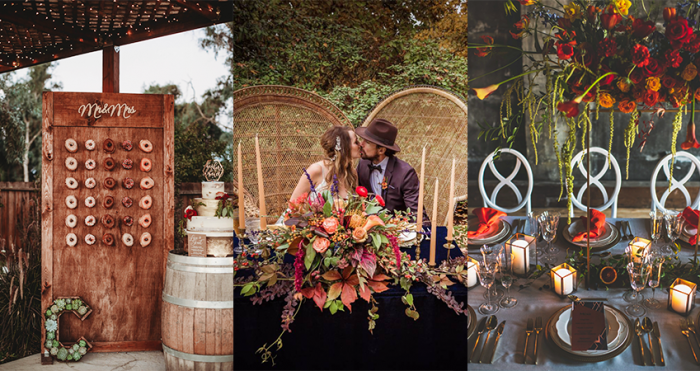 Collage of Fall Wedding Details and Fall Wedding Color Palettes