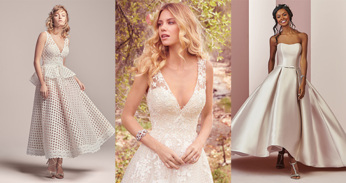 Collage of Models Wearing Short Wedding Dresses for Minimonies