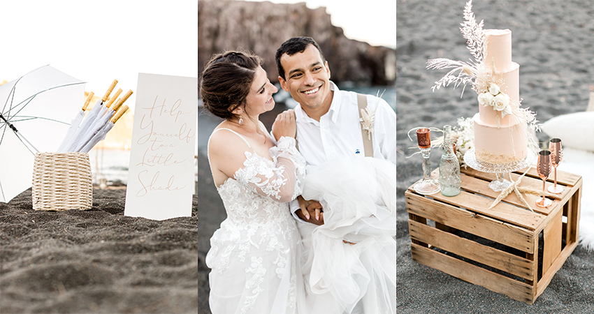 Collage of Wedding Details from Beach Elopement and Bride Hugging Groom