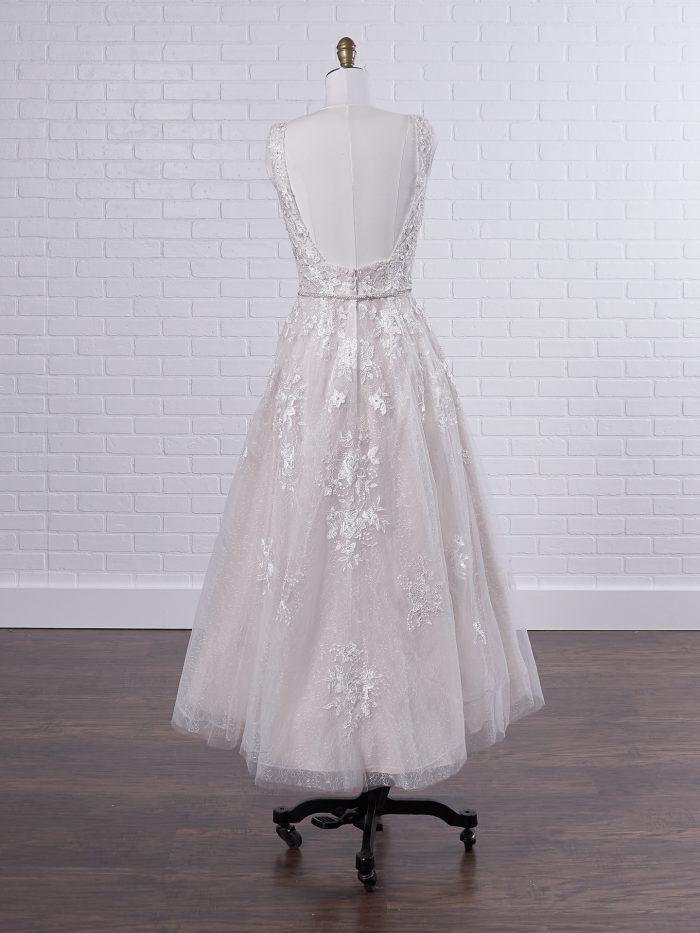 V-neck Polka Dot Tea Length Bridal Gown Called Meryl Lane by Maggie Sottero