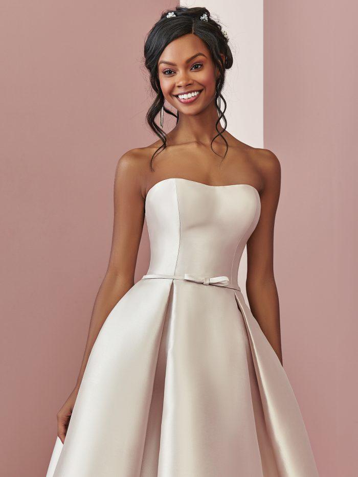 Black Model Wearing Satin High-Low Wedding Dress Called Erica by Rebecca Ingram