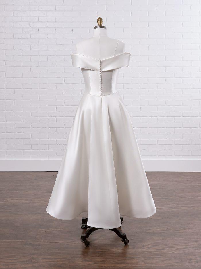Off-the-Shoulder Sleeve Satin Short Wedding Dress Called Josie Lane by Rebecca Ingram