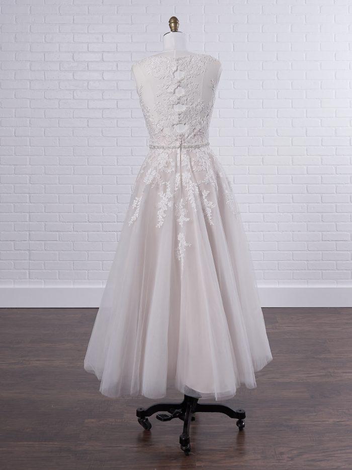 Key Hole Back Short Tea Length Bridal Gown Called Olivia Lane by Rebecca Ingram
