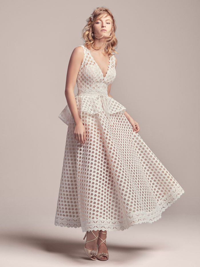 Model Wearing Retro Short Wedding Dress Called Reggie Jane by Rebecca Ingram