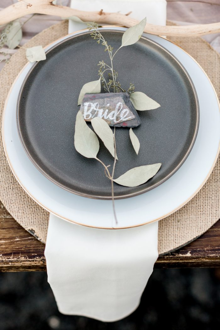 """Grey Place Setting for Intimate Reception that Says """"Bride"""""""