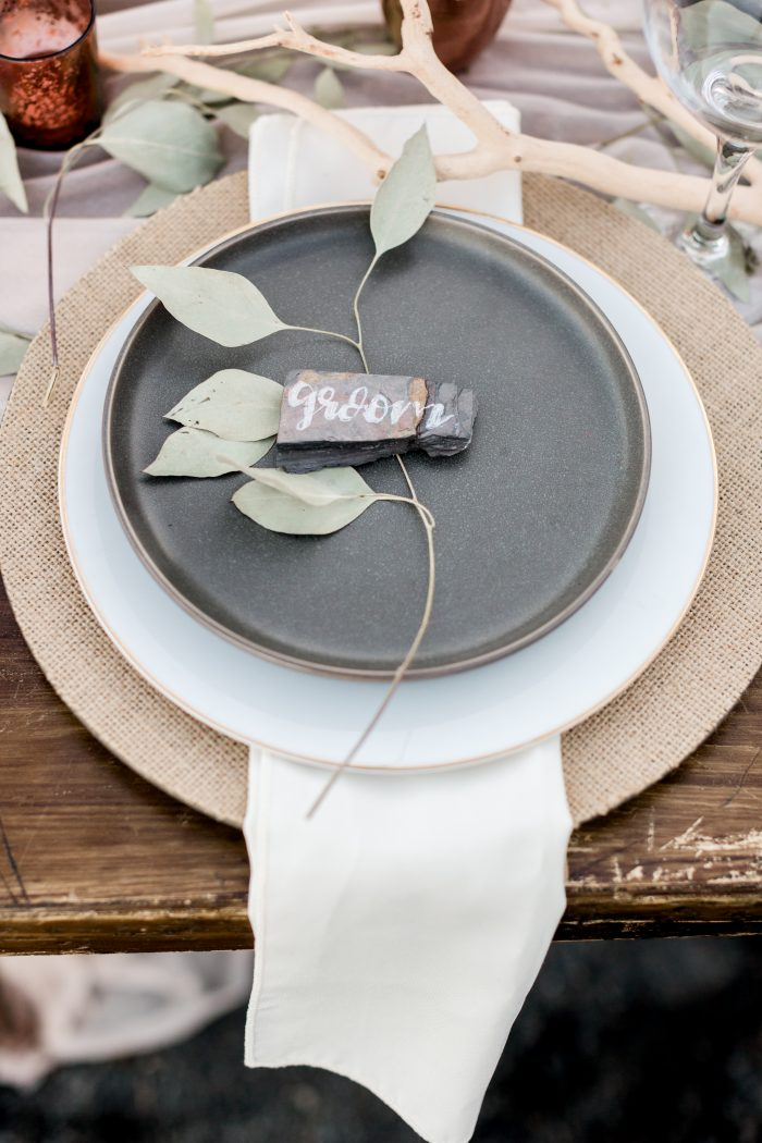 """Grey Place Setting for Intimate Reception that Says """"Groom"""""""