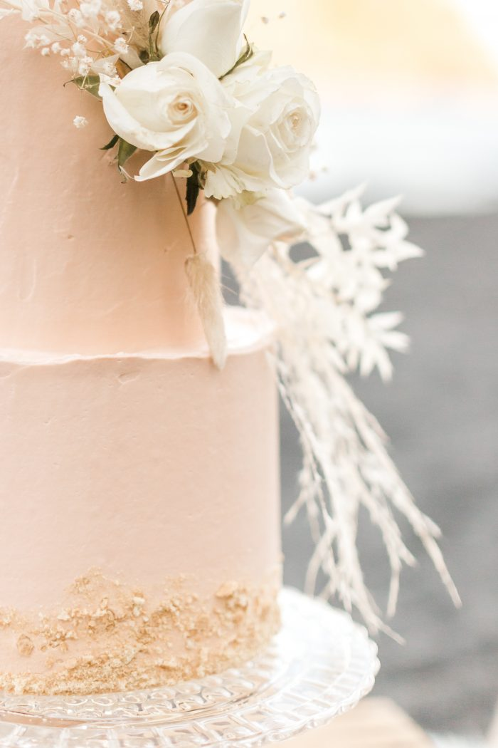 Sand-inspired Beach Wedding Cake with Wave-like Texture