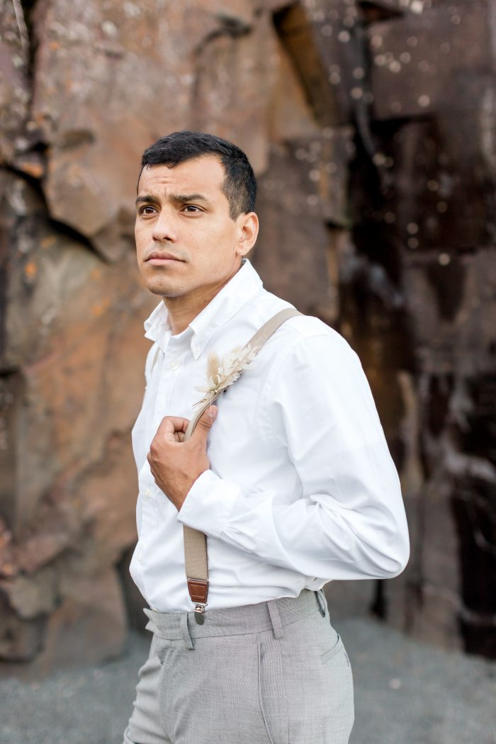 Groom Wearing White Shirt with Suspenders for Casual Groom's Wedding Attire