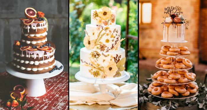 Collage of Three Seasonal Fall Wedding Cakes